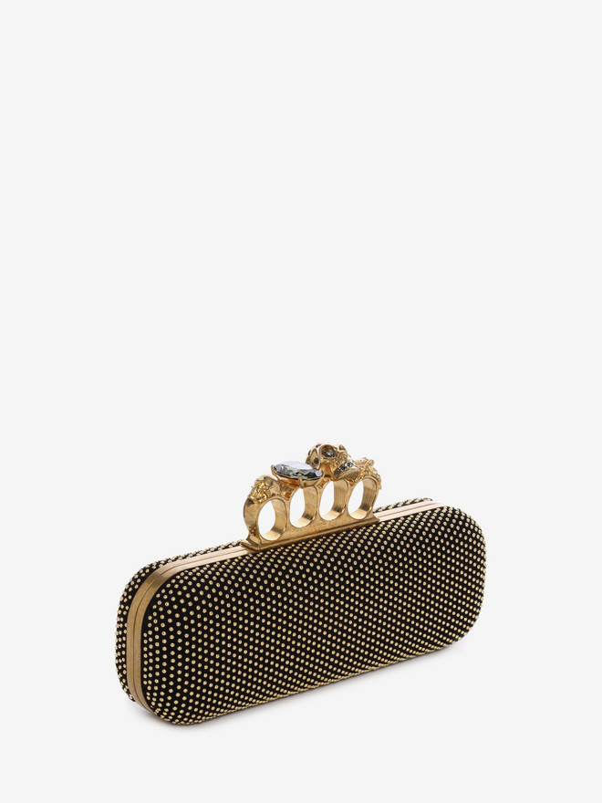 ALEXANDER MCQUEEN Studded Knucklebox Clutch Four-Ring Box Clutch D r