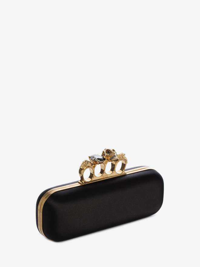 ALEXANDER MCQUEEN Satin Knuckle Box Clutch Knucklebox Clutch D r