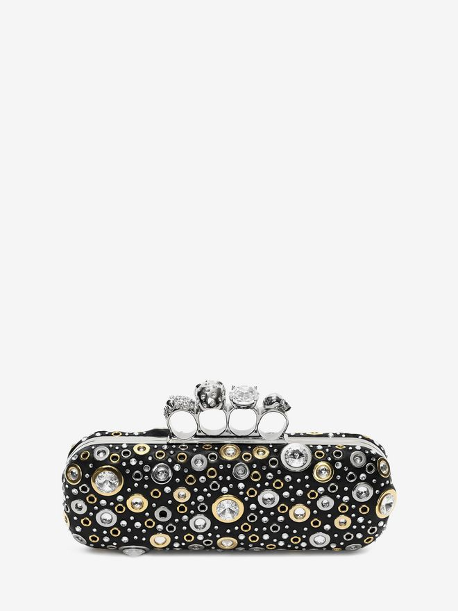 ALEXANDER MCQUEEN Nappa Leather and Studs Knuckle Box Four-Ring Box Clutch D d