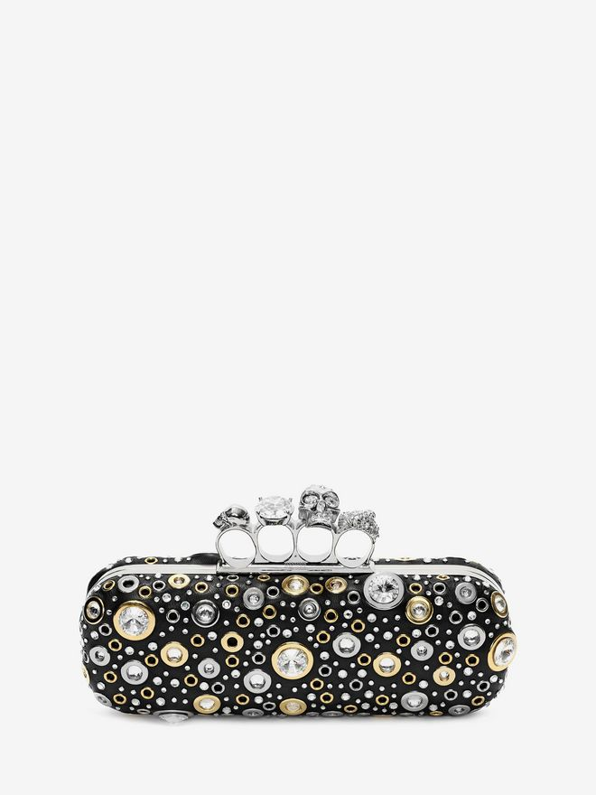 ALEXANDER MCQUEEN Nappa Leather and Studs Knuckle Box Four-Ring Box Clutch D f