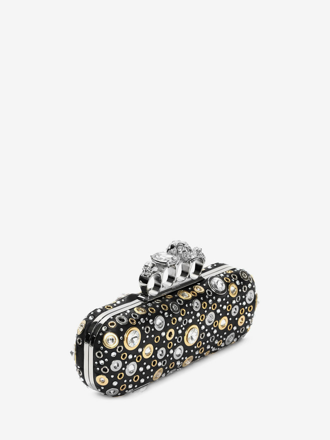 ALEXANDER MCQUEEN Nappa Leather and Studs Knuckle Box Four-Ring Box Clutch D r