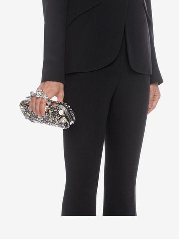 ALEXANDER MCQUEEN Nappa Leather and Studs Knuckle Box Four-Ring Box Clutch D a
