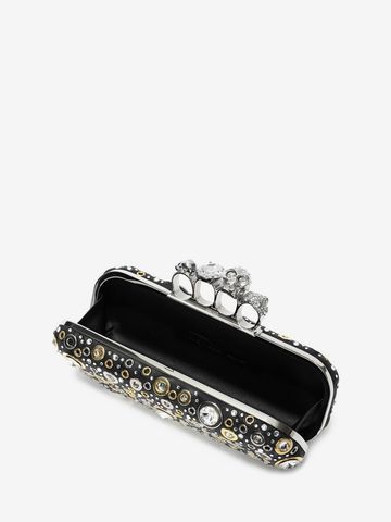 ALEXANDER MCQUEEN Nappa Leather and Studs Knuckle Box Four-Ring Box Clutch D e