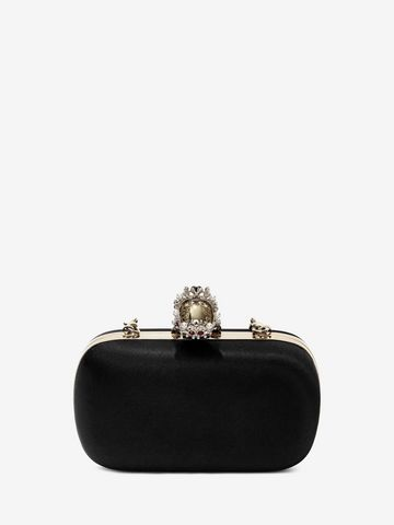 ALEXANDER MCQUEEN Silk Satin and Nappa Classic Skull Clutch with Chain Strap Clutch Seasonal D d