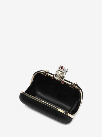 ALEXANDER MCQUEEN Silk Satin and Nappa Classic Skull Clutch with Chain Strap Clutch Seasonal D e
