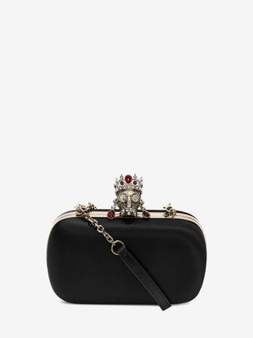 ALEXANDER MCQUEEN Silk Satin and Nappa Classic Skull Clutch with Chain Strap Clutch Seasonal D f