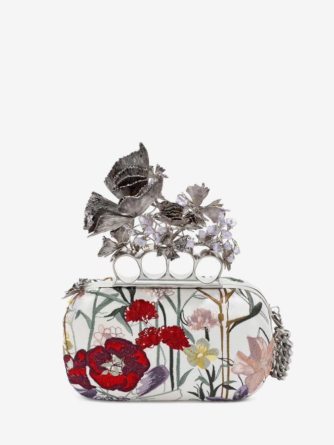 ALEXANDER MCQUEEN Embroidered Flower Knuckle Box Clutch Clutch Seasonal D d