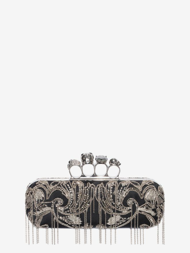 ALEXANDER MCQUEEN Metal Flower Embroidery Knuckle Box Clutch with Chain Four-Ring Box Clutch D d