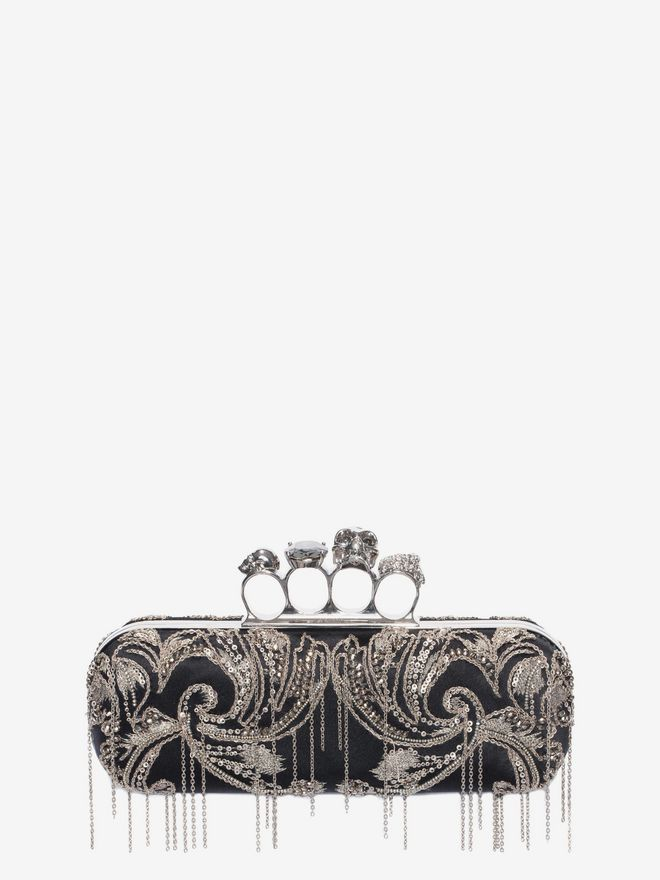 ALEXANDER MCQUEEN Metal Flower Embroidery Knuckle Box Clutch with Chain Four-Ring Box Clutch D f