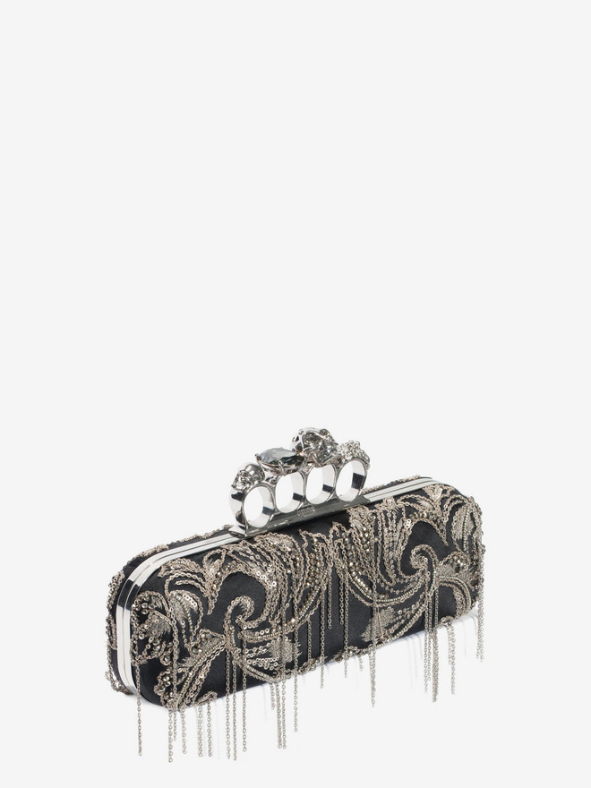 ALEXANDER MCQUEEN Metal Flower Embroidery Knuckle Box Clutch with Chain Four-Ring Box Clutch D r