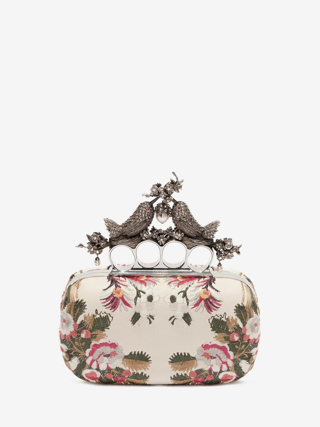 ALEXANDER MCQUEEN Floral Embroidery Bird Knuckle Clutch Seasonal Clutch D f