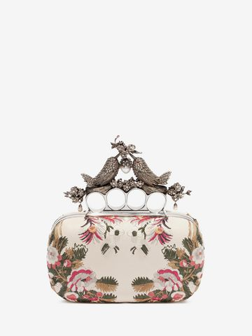 ALEXANDER MCQUEEN Floral Embroidery Bird Knuckle Clutch Seasonal Clutch D d