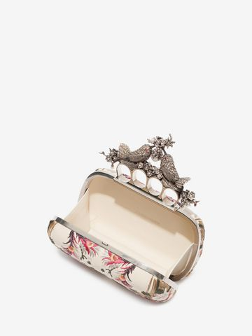 ALEXANDER MCQUEEN Floral Embroidery Bird Knuckle Clutch Seasonal Clutch D e