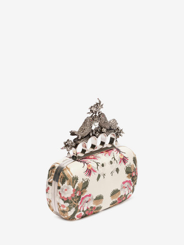 ALEXANDER MCQUEEN Floral Embroidery Bird Knuckle Clutch Seasonal Clutch D r