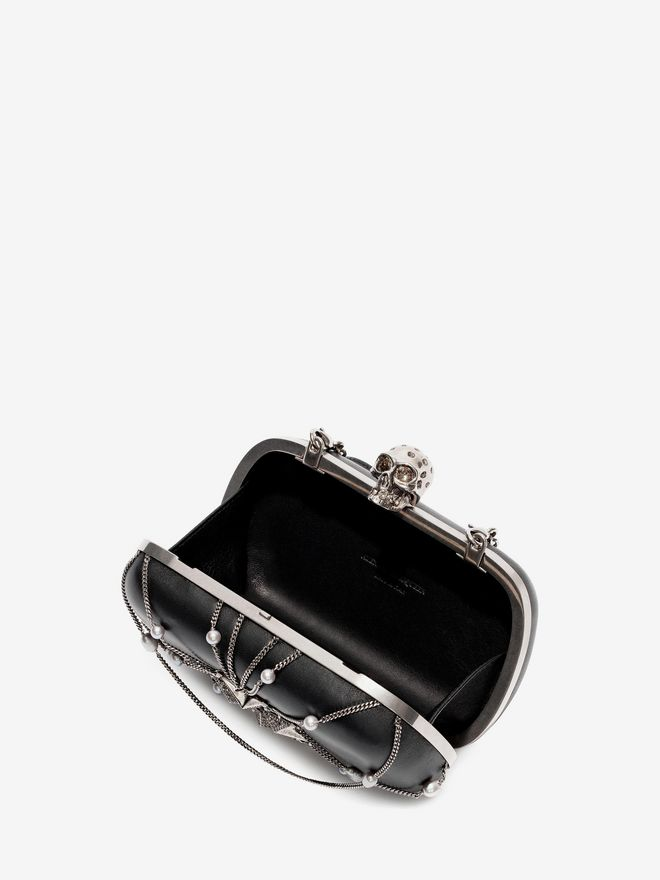 ALEXANDER MCQUEEN Nappa Chains and Charms Skull Clutch Clutch Seasonal D e