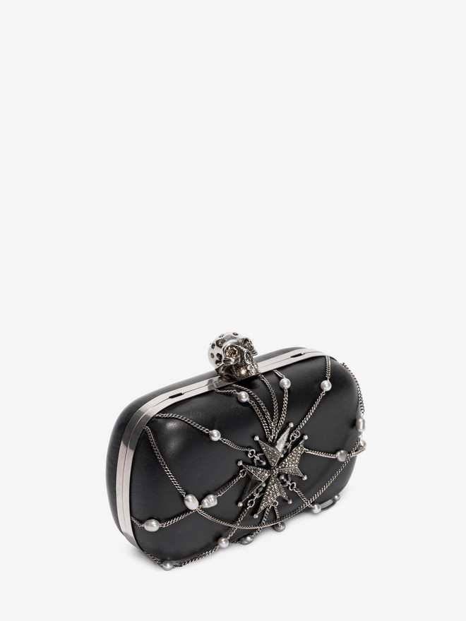 ALEXANDER MCQUEEN Nappa Chains and Charms Skull Clutch Clutch Seasonal D r