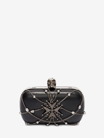 ALEXANDER MCQUEEN Nappa Chains and Charms Skull Clutch Clutch Seasonal D f
