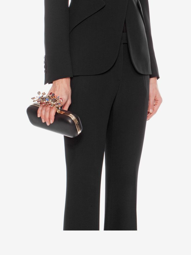 ALEXANDER MCQUEEN Nappa Clutch With Floral Knuckle Detail Clutch D a