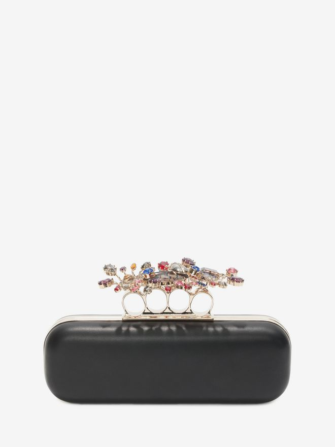 ALEXANDER MCQUEEN Nappa Clutch With Floral Knuckle Detail Clutch D f