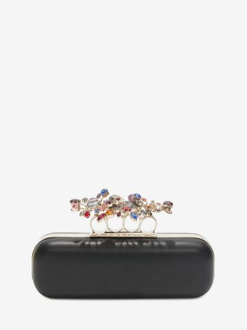 ALEXANDER MCQUEEN Nappa Clutch With Floral Knuckle Detail Clutch D d