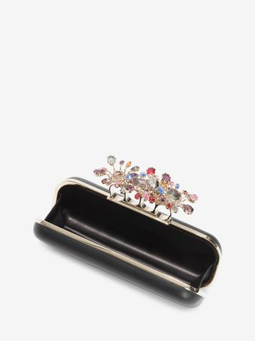 ALEXANDER MCQUEEN Nappa Clutch With Floral Knuckle Detail Clutch D e