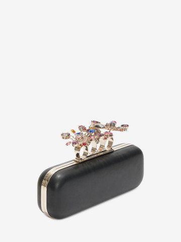 ALEXANDER MCQUEEN Nappa Clutch With Floral Knuckle Detail Clutch D r