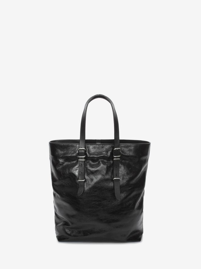 ALEXANDER MCQUEEN Black Calf Leather Open Shopper with Studded Skull Front  トートバッグ U d