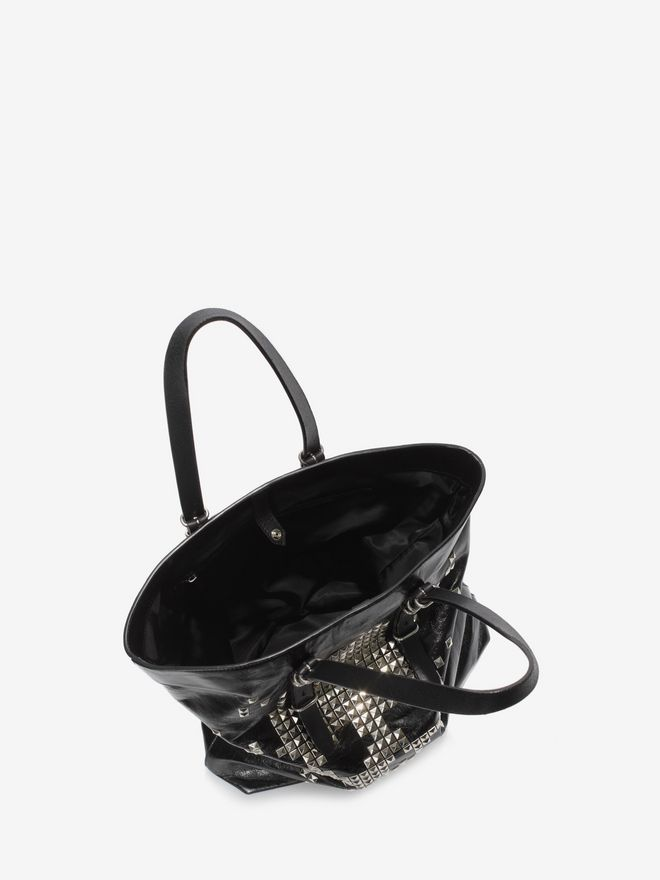 ALEXANDER MCQUEEN Black Calf Leather Open Shopper with Studded Skull Front  トートバッグ U e