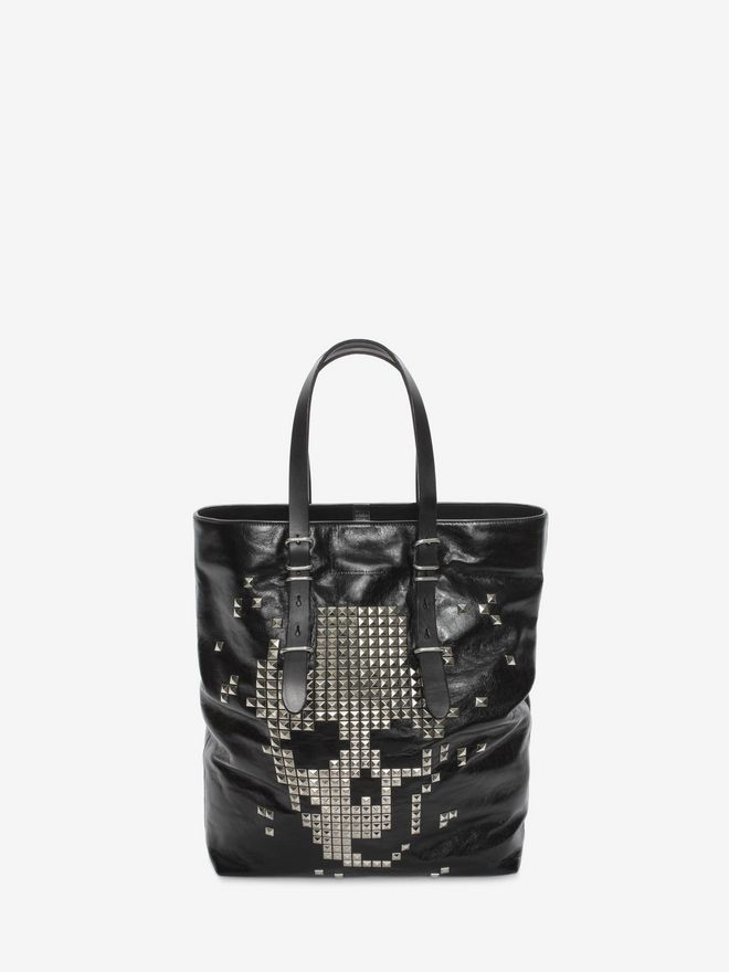 ALEXANDER MCQUEEN Black Calf Leather Open Shopper with Studded Skull Front  トートバッグ U f