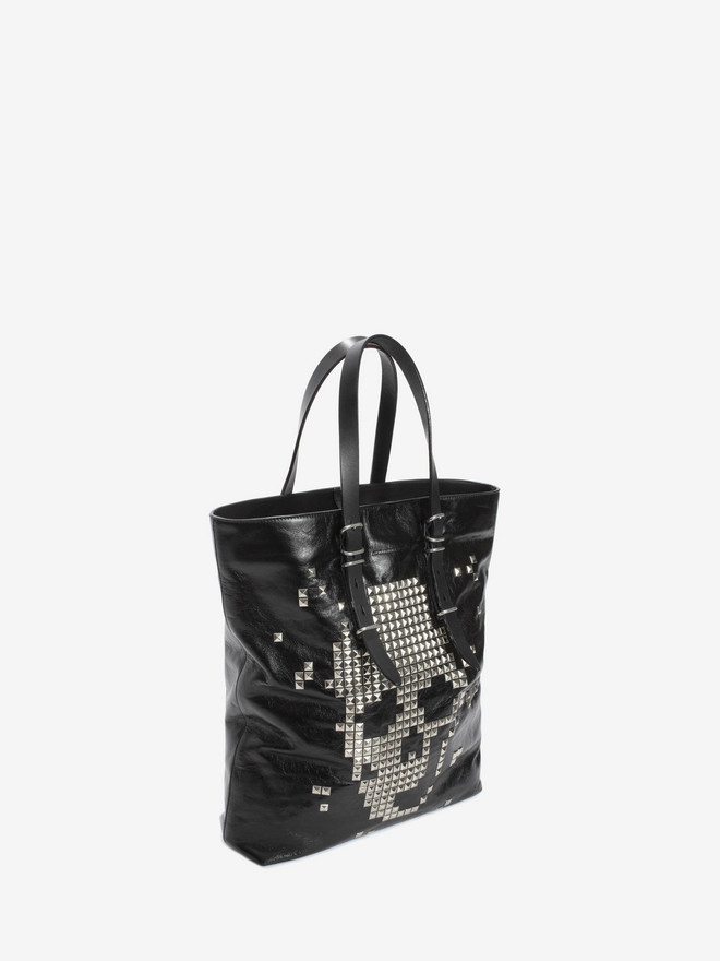 ALEXANDER MCQUEEN Black Calf Leather Open Shopper with Studded Skull Front  トートバッグ U r