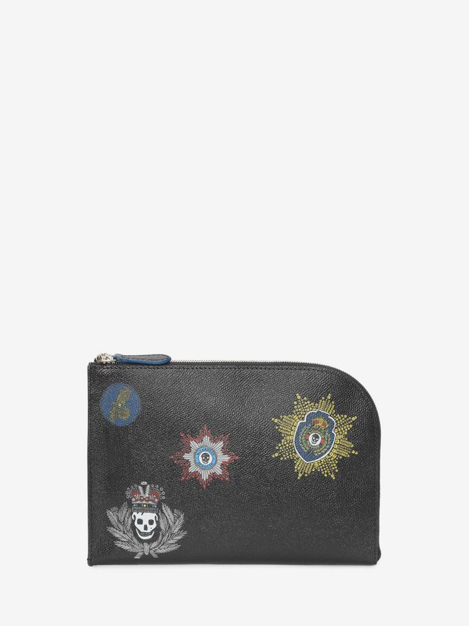 ALEXANDER MCQUEEN Black Small Half Zip Pouch with Leather Badges ポーチ U f