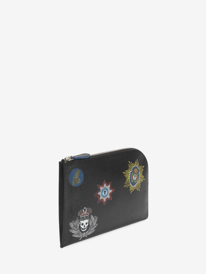 ALEXANDER MCQUEEN Black Small Half Zip Pouch with Leather Badges ポーチ U r