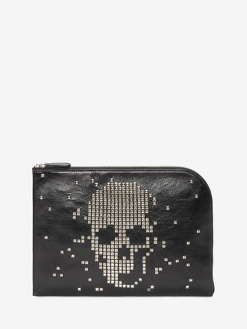 ALEXANDER MCQUEEN Black Calf Leather Half Zip Pouch with Skull Studded Front Pouch Man f