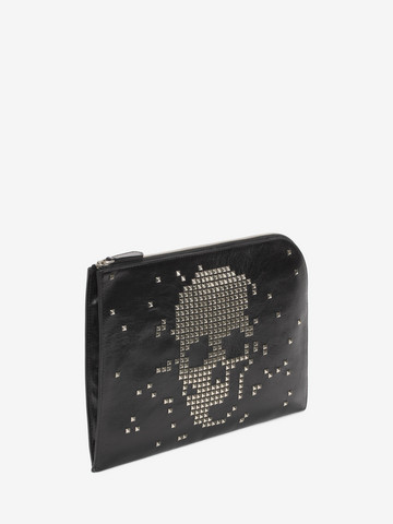 ALEXANDER MCQUEEN Black Calf Leather Half Zip Pouch with Skull Studded Front Pouch Man r