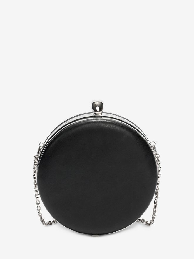 ALEXANDER MCQUEEN Clock Embroidered Round Skull Clutch Seasonal Clutch D d