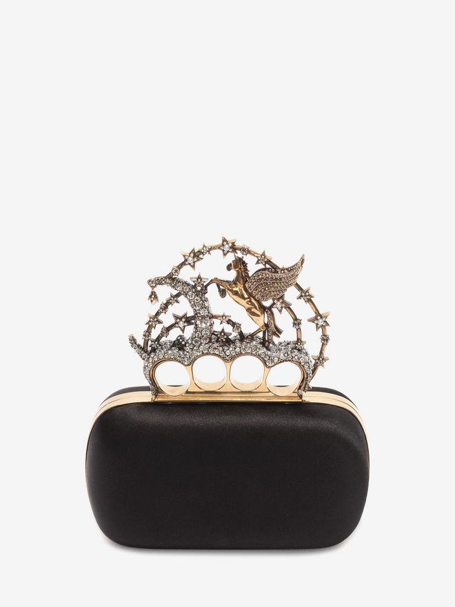 ALEXANDER MCQUEEN Black Satin Flying Unicorn Knuckle Clutch Clutch D d