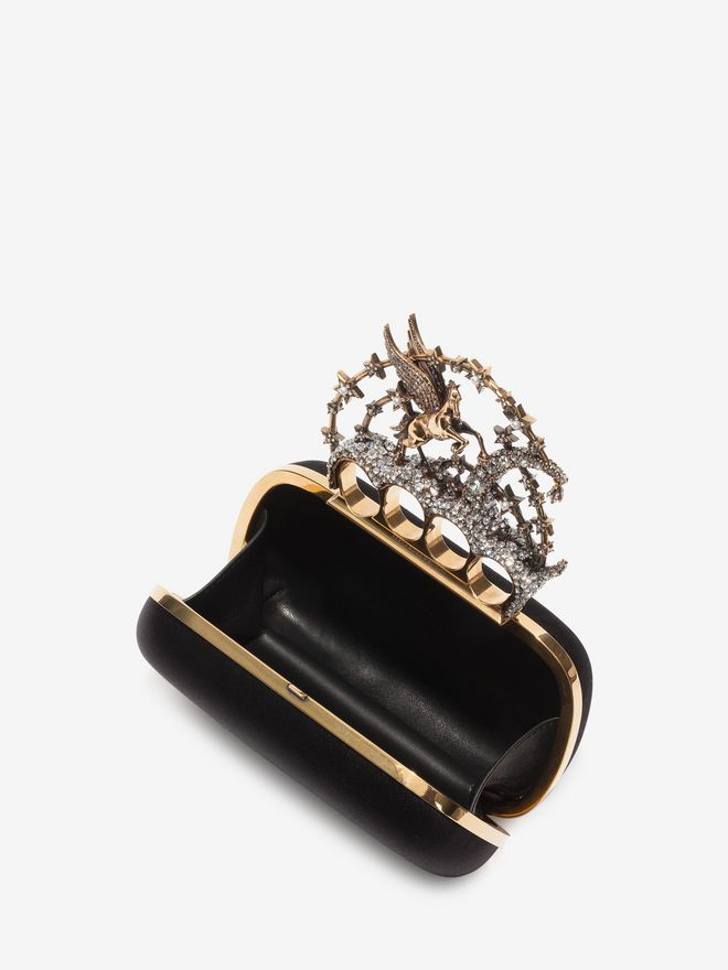 ALEXANDER MCQUEEN Black Satin Flying Unicorn Knuckle Clutch Clutch D e