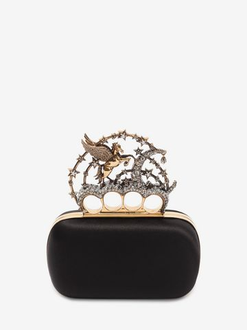 ALEXANDER MCQUEEN Black Satin Flying Unicorn Knuckle Clutch Clutch D f