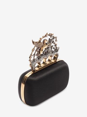 ALEXANDER MCQUEEN Black Satin Flying Unicorn Knuckle Clutch Clutch D r