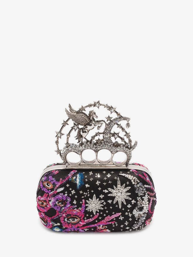 ALEXANDER MCQUEEN Night dream Embroidered Flying Unicorn Knuckle Clutch Clutch D f