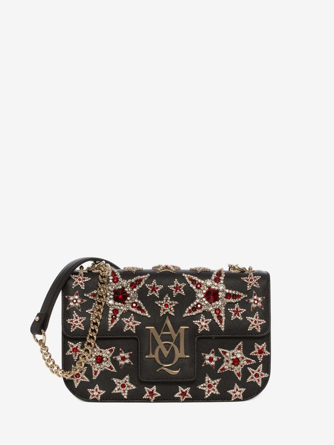 ALEXANDER MCQUEEN Star Embroidered Insignia Chain Satchel Shoulder Bag D a