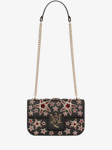 ALEXANDER MCQUEEN Star Embroidered Insignia Chain Satchel Shoulder Bag D f