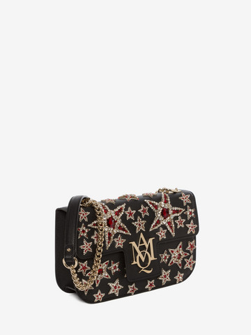 ALEXANDER MCQUEEN Star Embroidered Insignia Chain Satchel Shoulder Bag D r