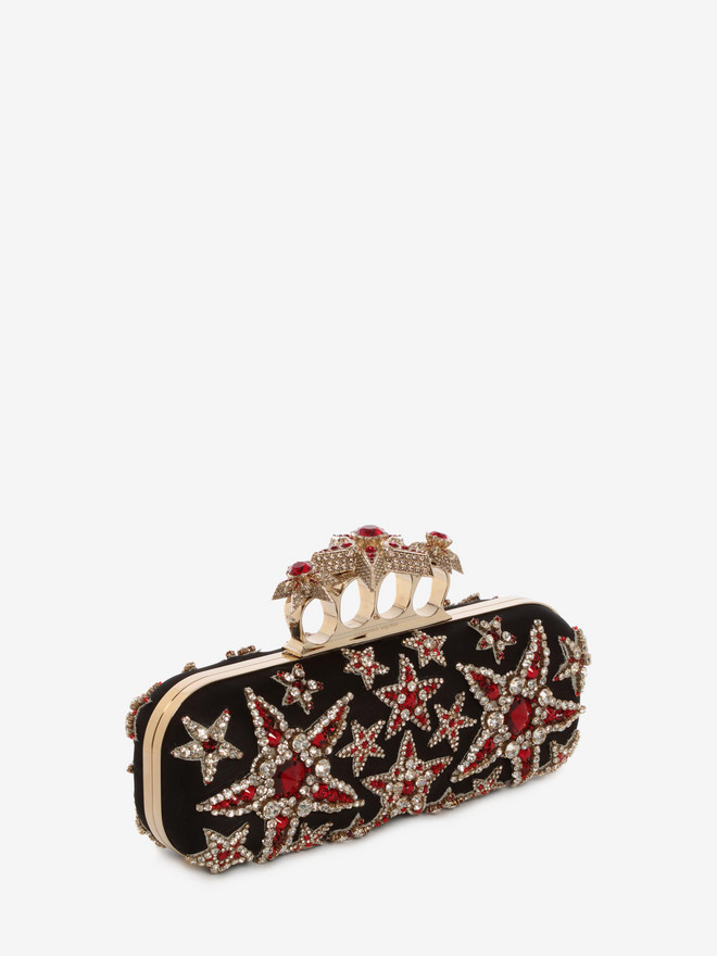 ALEXANDER MCQUEEN Star Embroidered Knuckle Box Clutch Four-Ring Box Clutch D r