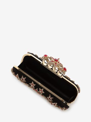 ALEXANDER MCQUEEN Star Embroidered Knuckle Box Clutch Four-Ring Box Clutch D a