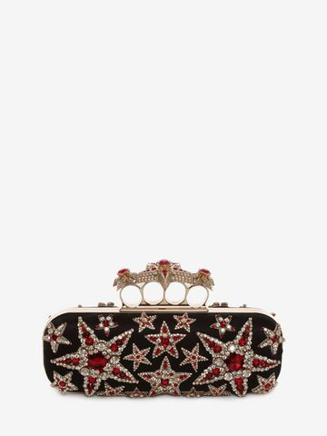 ALEXANDER MCQUEEN Star Embroidered Knuckle Box Clutch Four-Ring Box Clutch D d