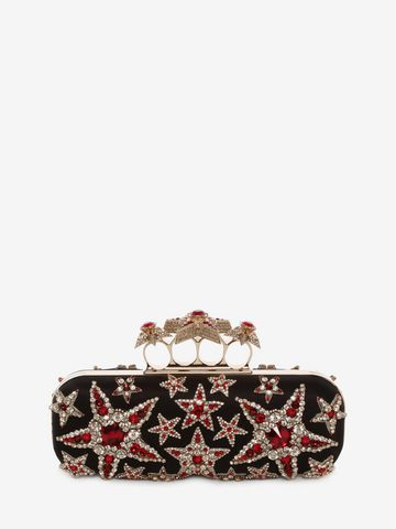 ALEXANDER MCQUEEN Star Embroidered Knuckle Box Clutch Four-Ring Box Clutch D f