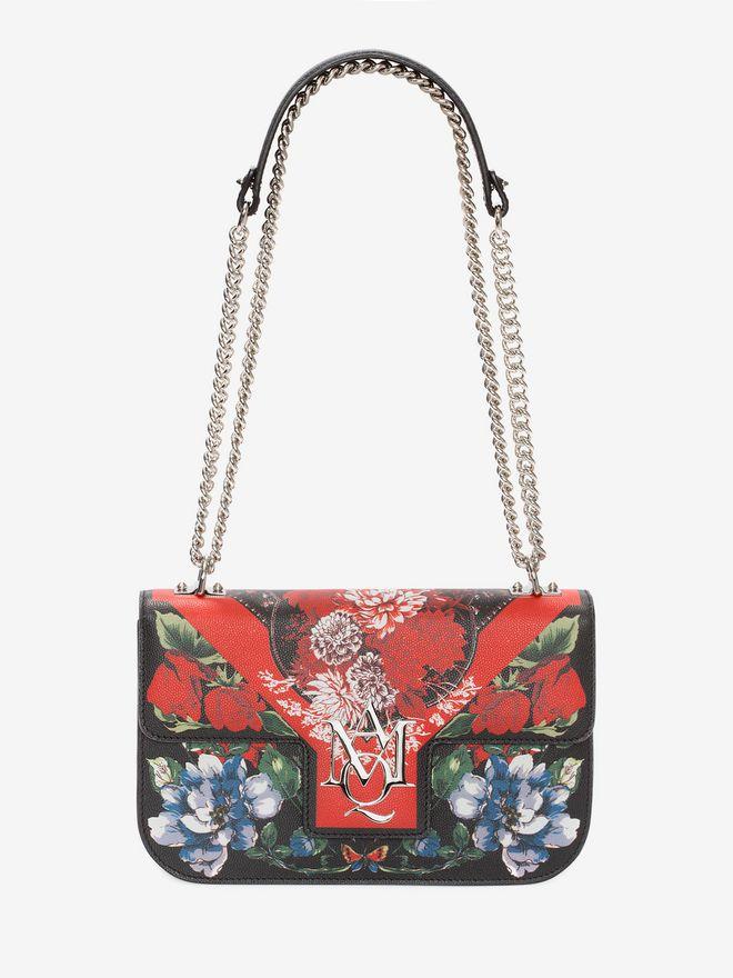 ALEXANDER MCQUEEN Floral Table Cloth Insignia Chain Satchel Shoulder Bag D f