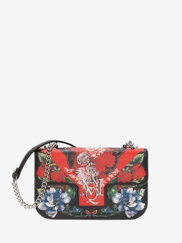 ALEXANDER MCQUEEN Floral Table Cloth Insignia Chain Satchel Shoulder Bag D a