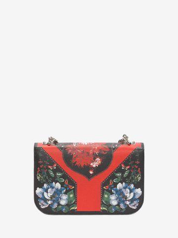 ALEXANDER MCQUEEN Floral Table Cloth Insignia Chain Satchel Shoulder Bag D d